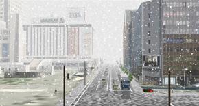 シミュレーションした降雪時のJR札幌駅前