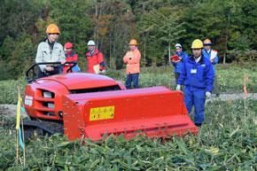 下刈り機械試乗の様子 林業軽労化モデル現地検討会