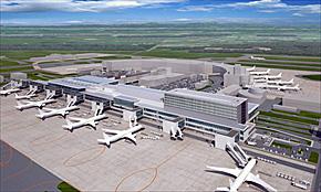 エプロンサイドから見たターミナルビル増築部分のイメージ