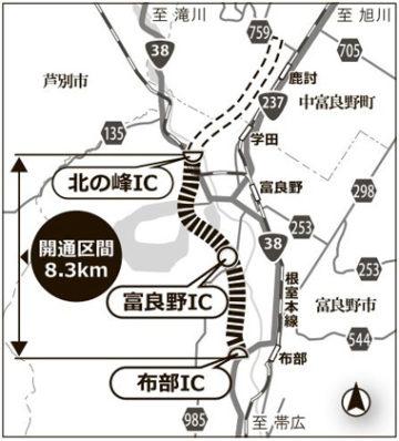 富良野道路が開通 北の峰トンネ...