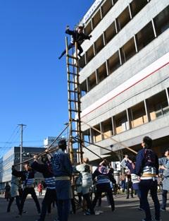 新年祝いはしご乗りで妙技を披露 釧路鳶土木工業組合など