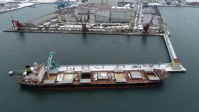 釧路港国際物流ターミナル 荷役機械など試運転開始