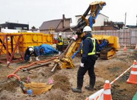 清田区里塚の地盤改良復旧 試験施工を市民に公開
