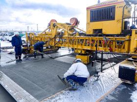 苫小牧港でコンクリ舗装9000m²施工 大成ロテック