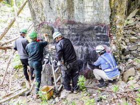 旧国鉄士幌線アーチ橋梁群の第二音更川陸橋で落書き除去