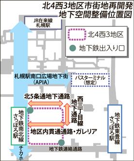 地下通路3カ所整備 札幌駅北4西3再開発準備組合